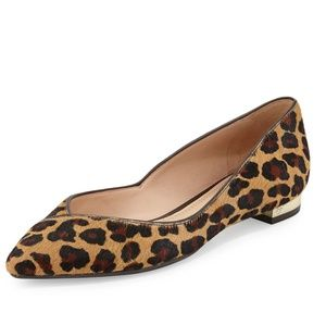 Tory Burch Niki Calf Hair Point-Toe Leopard Flats